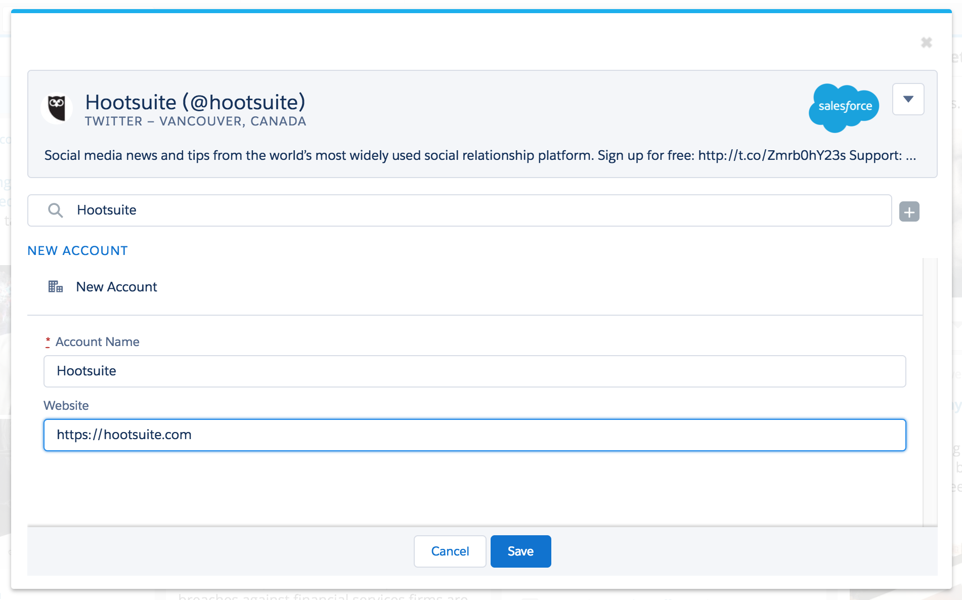 Salesforce for Hootsuite SCREENSHOT