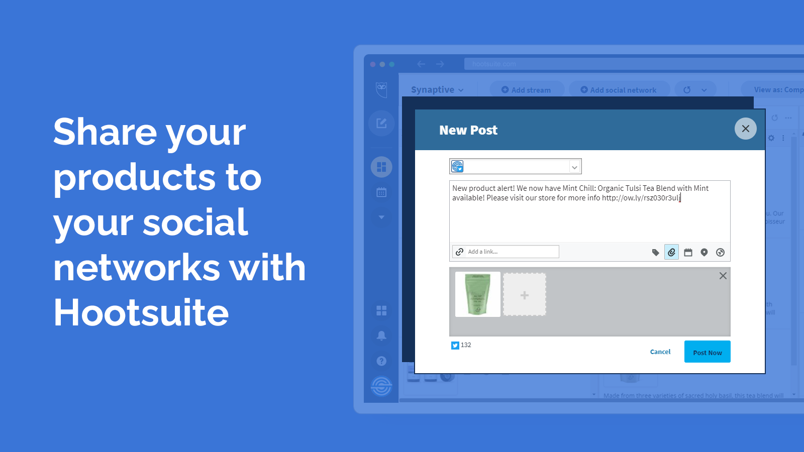 Creating a Twitter post in Hootsuite that includes a Matcha tea product