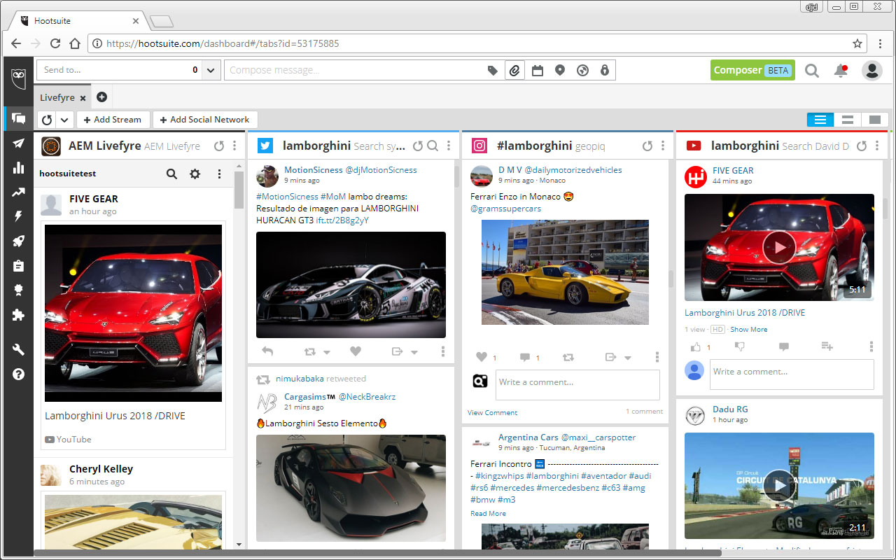 AEM Livefyre for Hootsuite SCREENSHOT