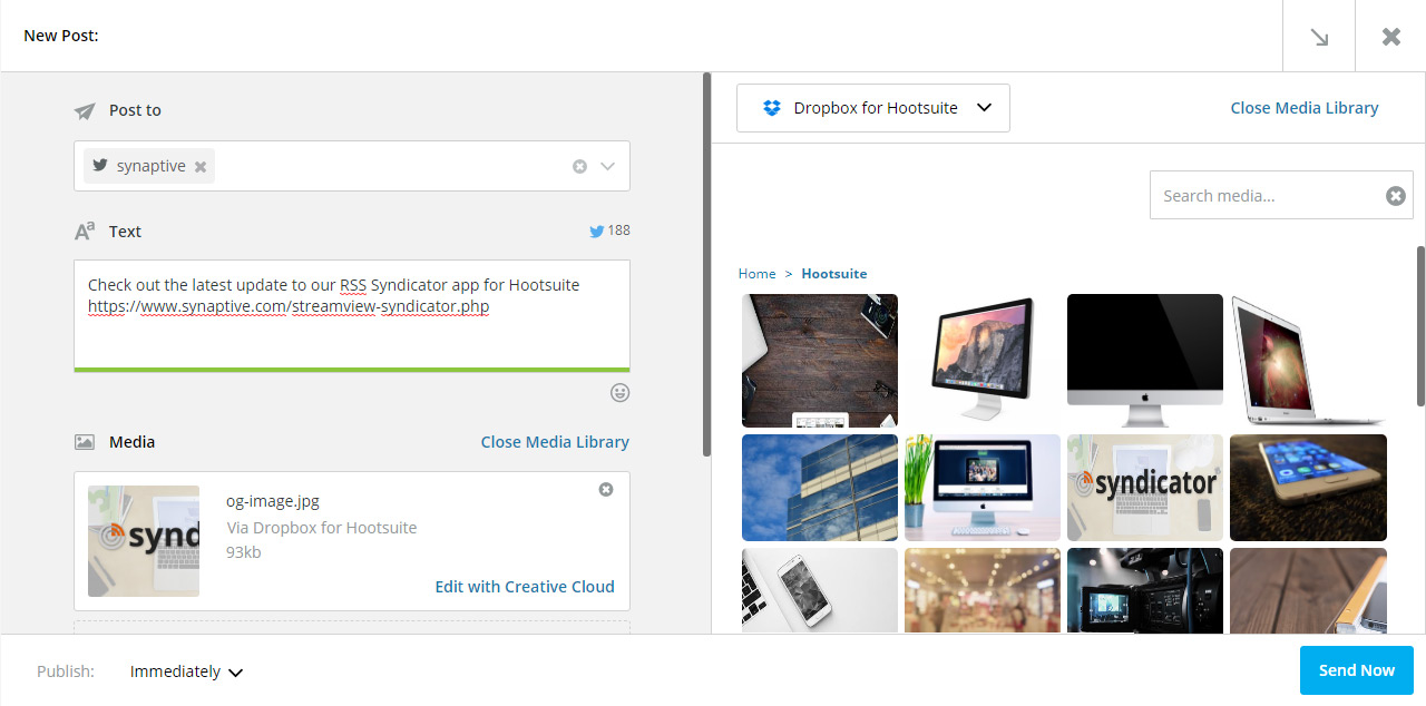Dropbox for Hootsuite SCREENSHOT