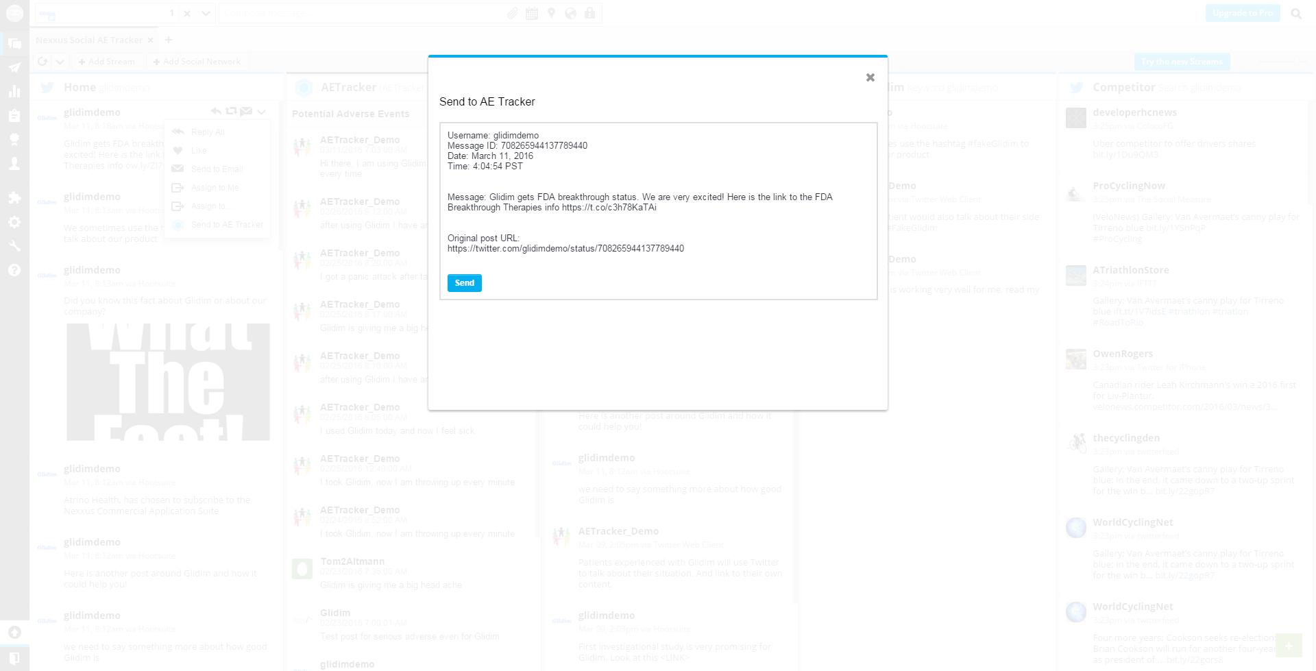 AETracker for Hootsuite SCREENSHOT