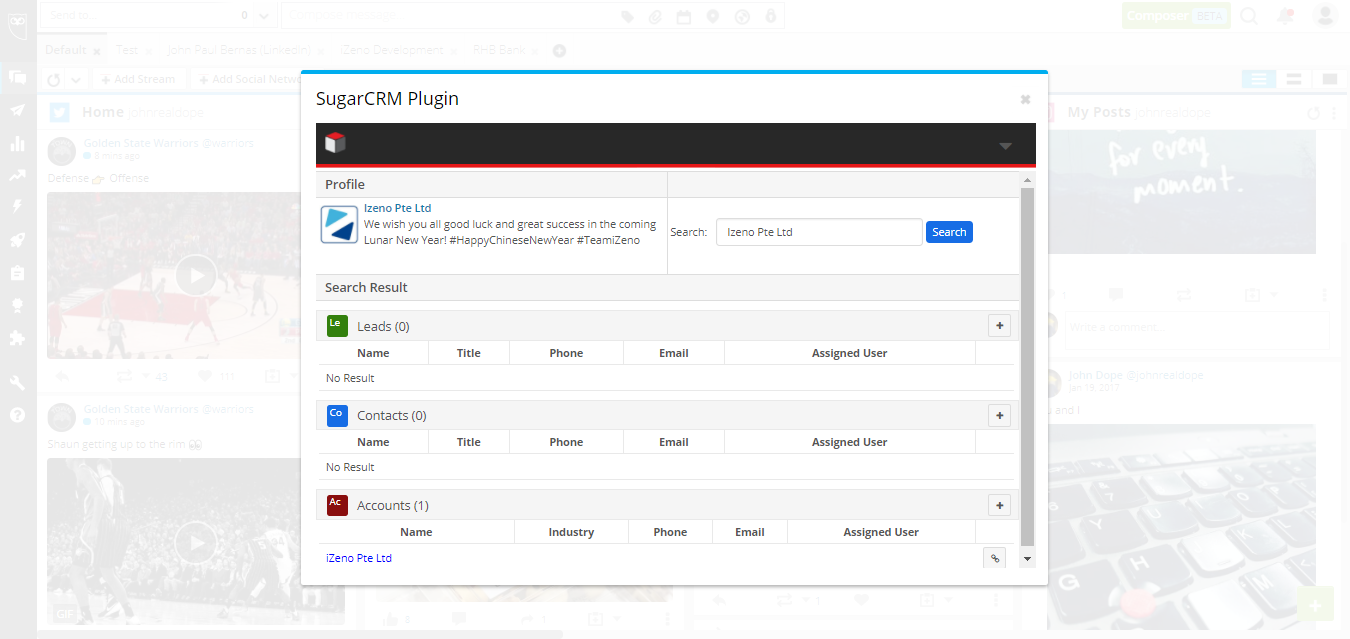 SugarCRM for Hootsuite SCREENSHOT