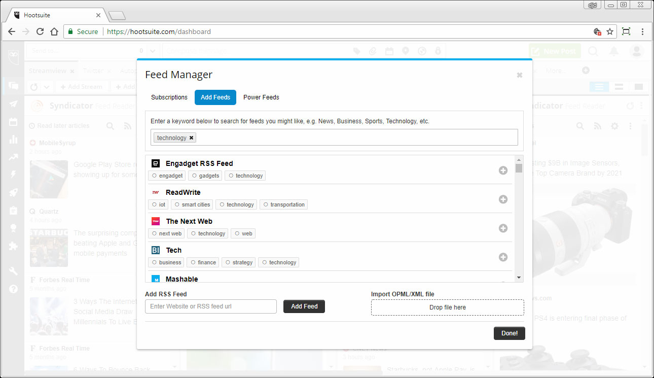 Hootsuite Syndicator SCREENSHOT